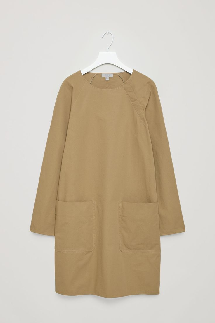 COS image 7 of Shift dress with hidden buttons  in Tan