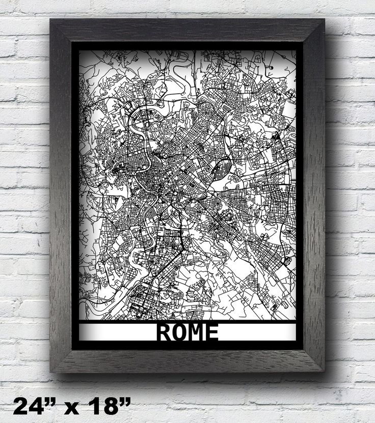 Rome, Italy Laser Cut Map, 3D Street Map, 24x18 Map, 18x14 Map, 14x11 Map, Map Art, City Map, Rome Map, Custom Map. Our laser cut 3D street map is an exquisite and high-detail art of your favorite city/county/state/country! The super black mat mounting board is laser cut all the way through to create the 3D effect. Backed by a white paper background, it creates a stunning art that will beautify any walls. The map is enclosed with a high quality matte black frame. it comes with an…