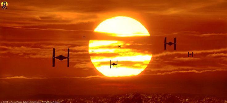 Films Star Wars 7 : Le Réveil De La Force  Star Wars Tie Fighter Coucher De Soleil Fond d'écran
