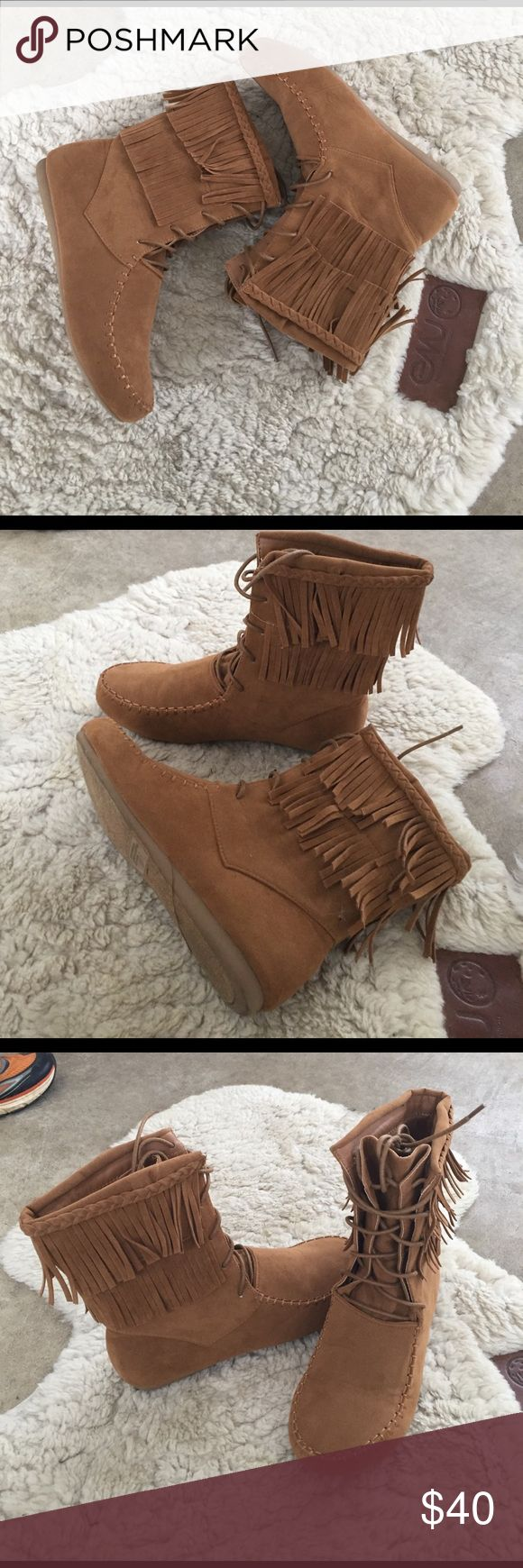 Mocassin booties Women's tan mocassin booties w/ fringes. Worn ONCE! Like new condition Shoes Ankle Boots & Booties