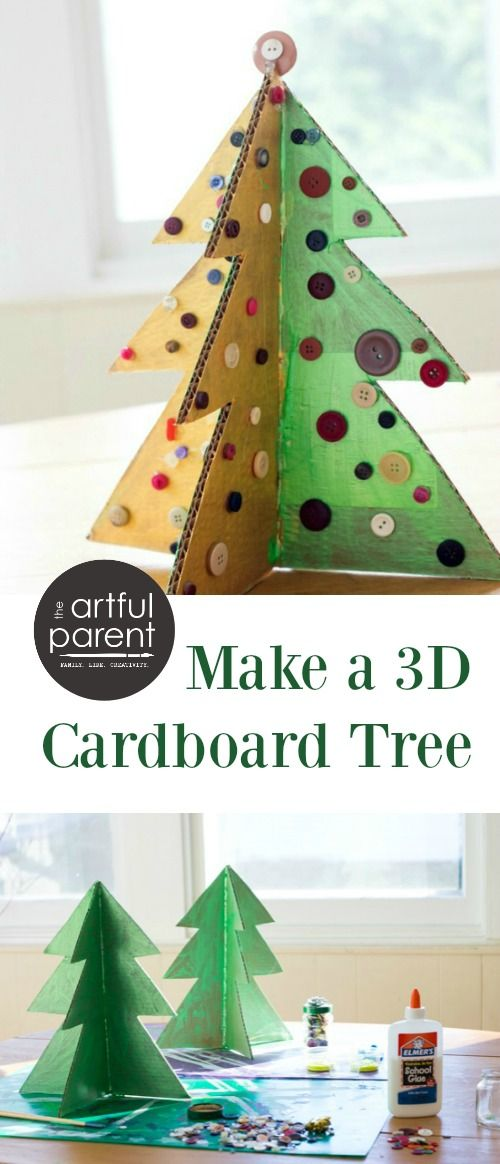 A Christmas Tree Craft With Cardboard And Buttons Growing Creative