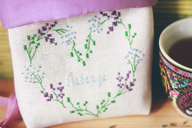 "Венок-сердце ""Лаванда"" Cross-stitching Lavender wreath"