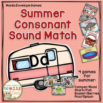 This series will include manila folder games for early learners who need routine and independence. This game can be played in a variety of ways. The contains 4 themes (Camper/Road, Baskets/Berries, Sharks/Fish, and Pool/Splash), letter cards for 20 consonants (B, C, D, F, G, H, J, K, L, M, N, P, Q, R, S, T, V, W, Y and Z), and 3 picture cards for