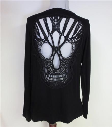 Crochet Embroidered Skull Cardigan-NEW! $45