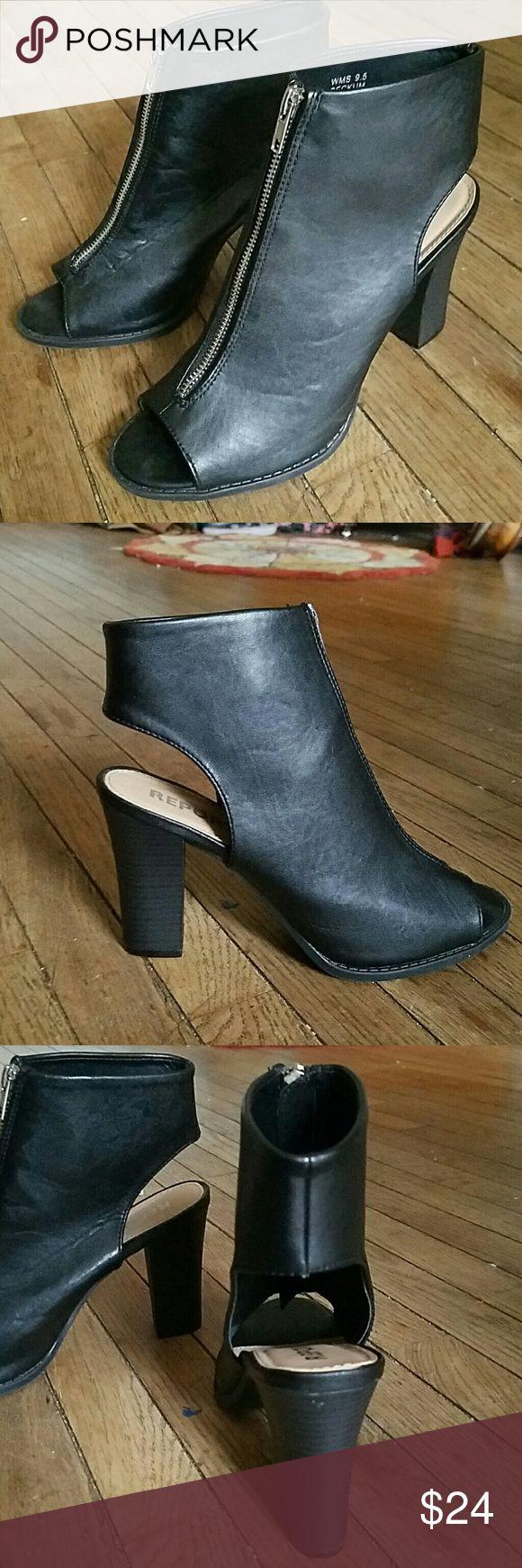 Black zip up booties Black open toe and heel booties. Zip up front. Report Shoes Heeled Boots