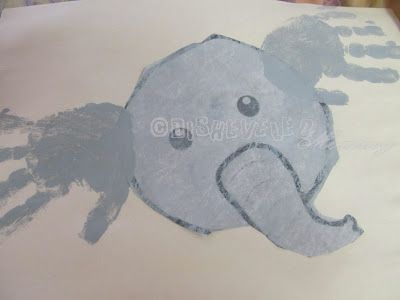 Ella the Elephant is all Ears: Preschool Ee/grey art project/craft. So cute! Love little hand-prints!