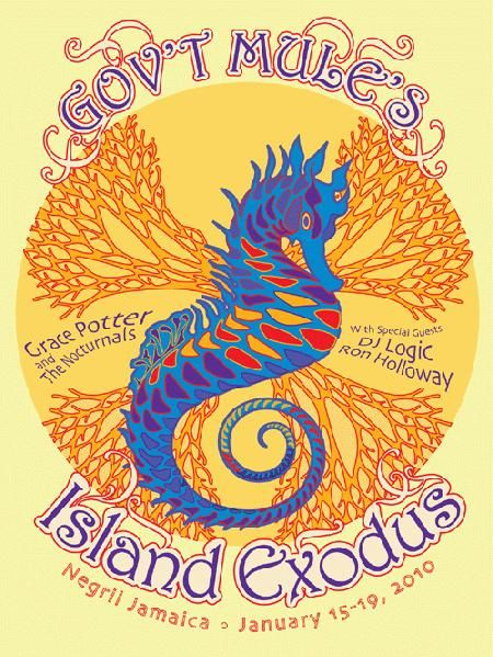 Original concert poster for Gov't Mule in Negril Jamaica in 2010. 18 x 24 inches. 6 color silkscreen print.