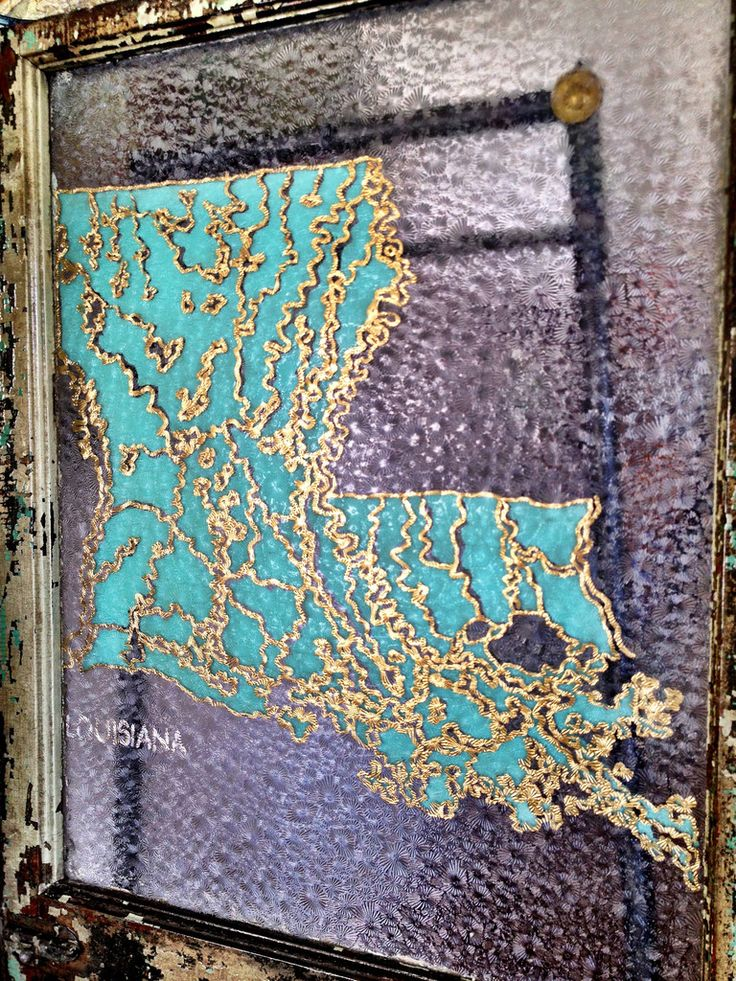 Louisiana Deer Map%0A Louisiana State Map depicted in gold  silver  and acrylic on antique window