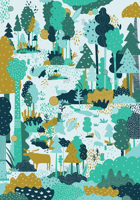 ARTIST INSPIRATION Forest... kind of magic  MATERIAL DESCRIPTION * 170g paper * rolled and mailed in a sturdy tube mailer * print comes with