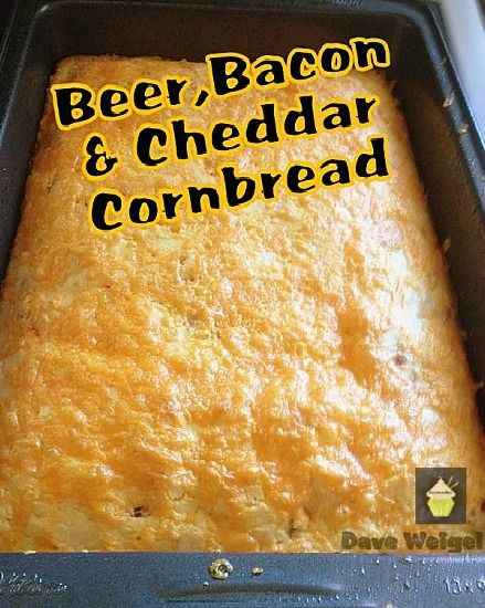 Beer, Bacon and Cheddar Cornbread An easy recipe with a great flavor combination. Goes well with soups, chili, stews or simply on it's own! Also freezer friendly as a whole or cut in to portions and freeze so you always have some handy!
