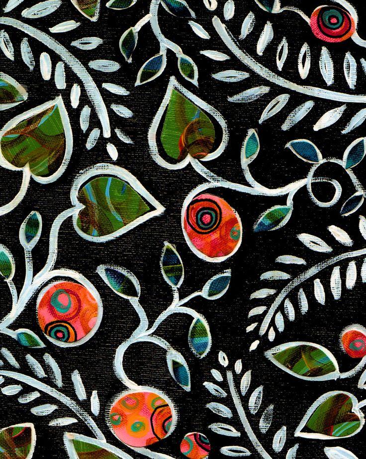 .mustalle paperille valkoisella pullopeitevärillä. Lehdistä leikatuista väripapereista lehdet ja marjat.