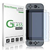 #1: amFilm Tempered Glass Screen Protector for Nintendo Switch 2017 (2-Pack)