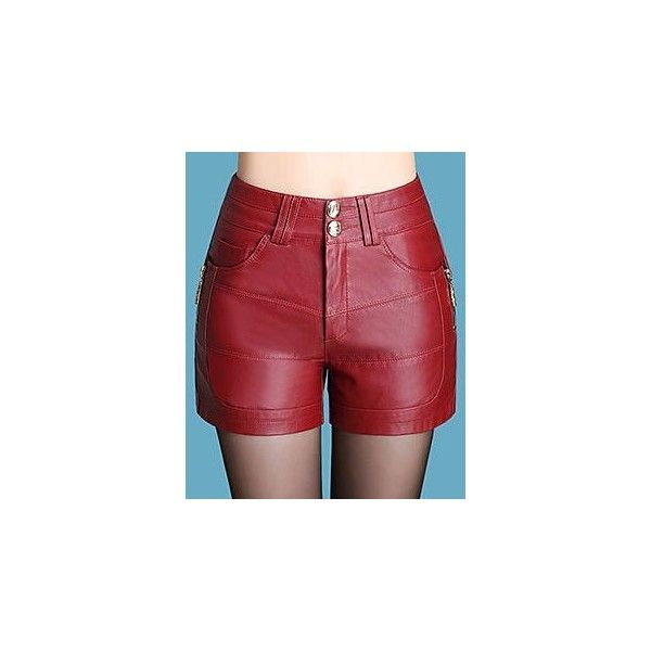 Faux Leather Shorts ($27) ❤ liked on Polyvore featuring shorts, women, red faux leather shorts, red shorts, vegan leather shorts and faux leather shorts