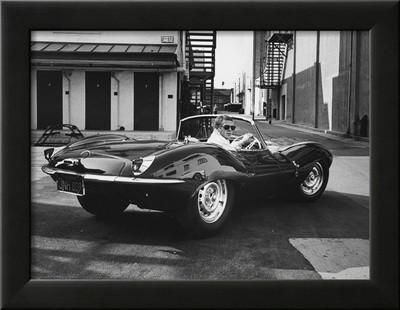 Actor Steve McQueen Driving His Jaguar Framed Photographic Print by John Dominis at Art.co.uk