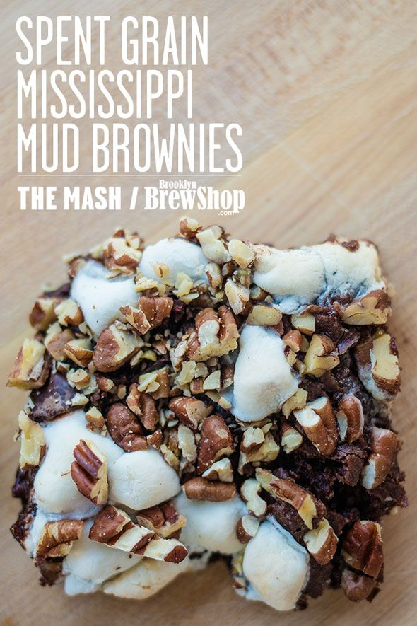 Chocolatey, nutty, and delicious spent grain Mississippi Mud Brownies. Recipe from The Mash by Brooklyn Brew Shop http://thema.sh/MudBrownies