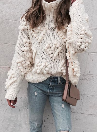 Bring all the chic fun to fall with this lovely turtleneck sweater with yarn ball appliques in a creamy ivory hue. Knit Your Love Turtleneck Sweater featured by Cellajane Blog