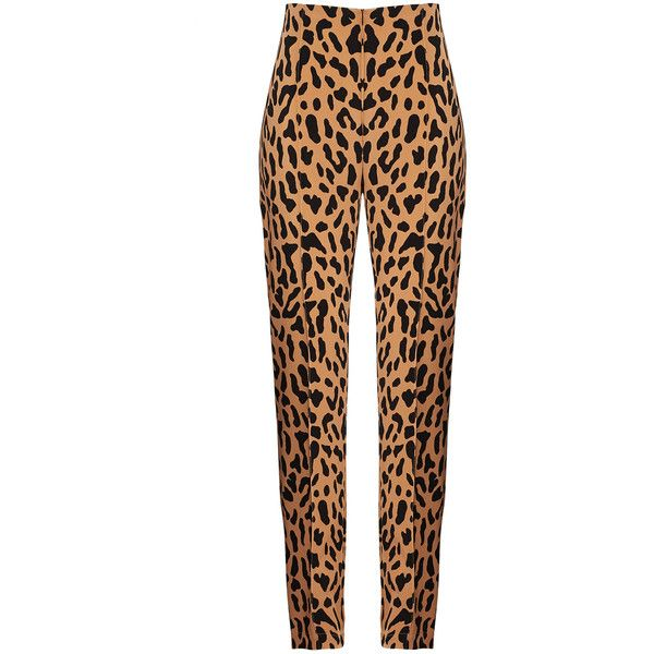 Diane von Furstenberg Leopard Skinny Pant ($50) ❤ liked on Polyvore featuring pants, bottoms, white trousers, white leopard pants, white pants, skinny trousers and leopard pants