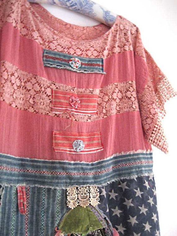 Marina Dress, Fish, Stars, Stripes, Red, Pink, Blue, America, Cheesecloth…