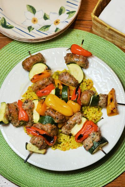 Oven Roasted Sausage Kabobs smells so incredible while roasting. And it takes less than an hour!