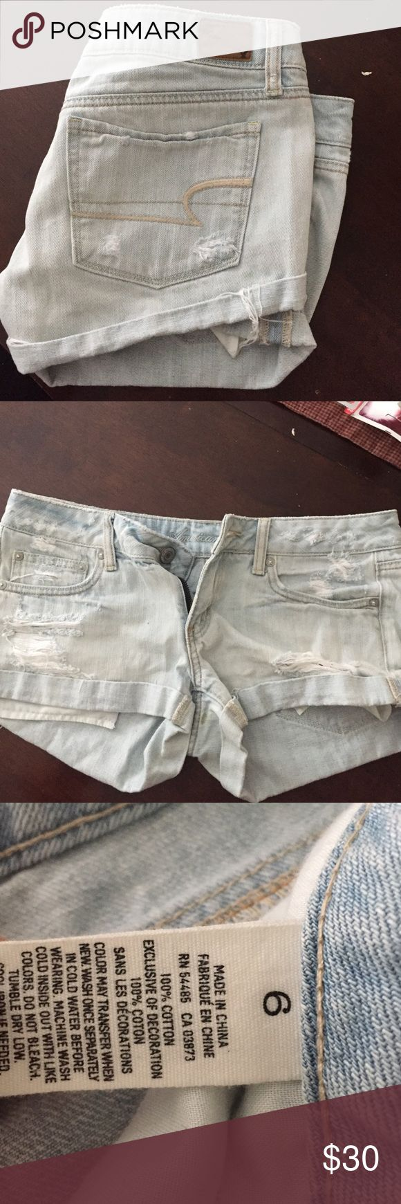 American eagle shorts American Eagle light wash destroyed shorts. Super comfortable and in great condition. I will take reasonable offers! American Eagle Outfitters Shorts Jean Shorts