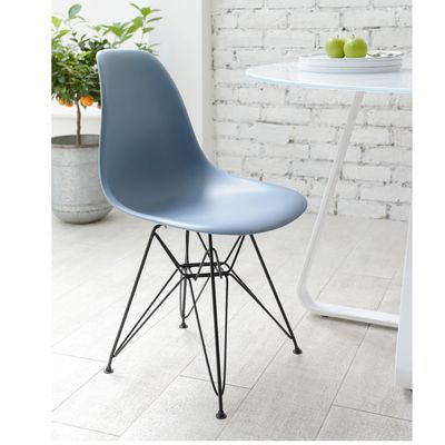 Click to zoom - Eiffel dining chair with black metal legs blue
