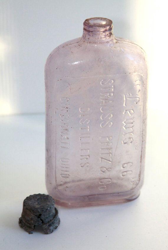 Vintage Purple Glass Liquor bottle, lavender glass bottle with magnese, elixar tonic bottle, crane embossed glass bottle