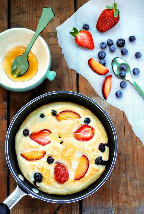 Honey Cloud Pancakes - egg whites and honey whipped up and baked with fruit for a healthier pancake.