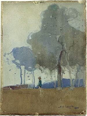 Sydney Long Trees and figure - watercolour - c.1914