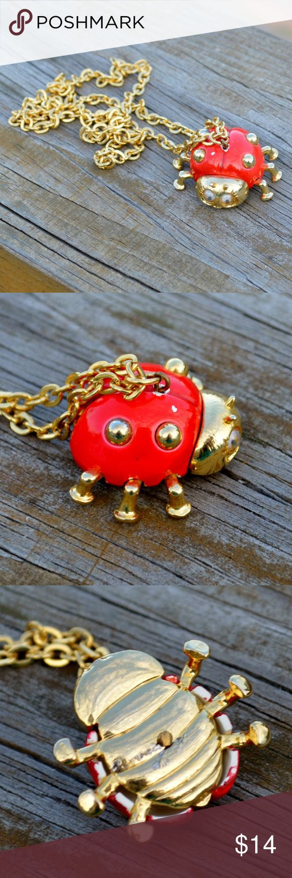 Vintage Red Enamel Gold Ladybug Kitsch Necklace Up for sale is one necklace, as pictured. It features a gold tone chain holding a gold tone ladybug pendant with plastic eyes. There is some damage due to age (some chipping to the red enamel). It comes as shown, so please reference pictures for condition and design. The chain is about 24 inches long, and the ladybug measures about 1.25 x 1.25 x .5 inches. Jewelry Necklaces