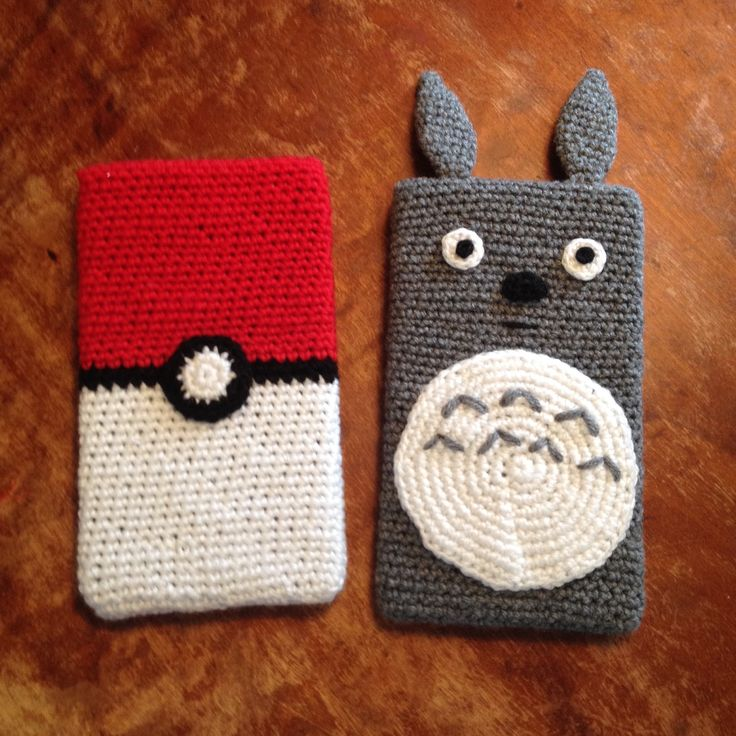Ipad cases for my kids Crochet pokeball and Totoro