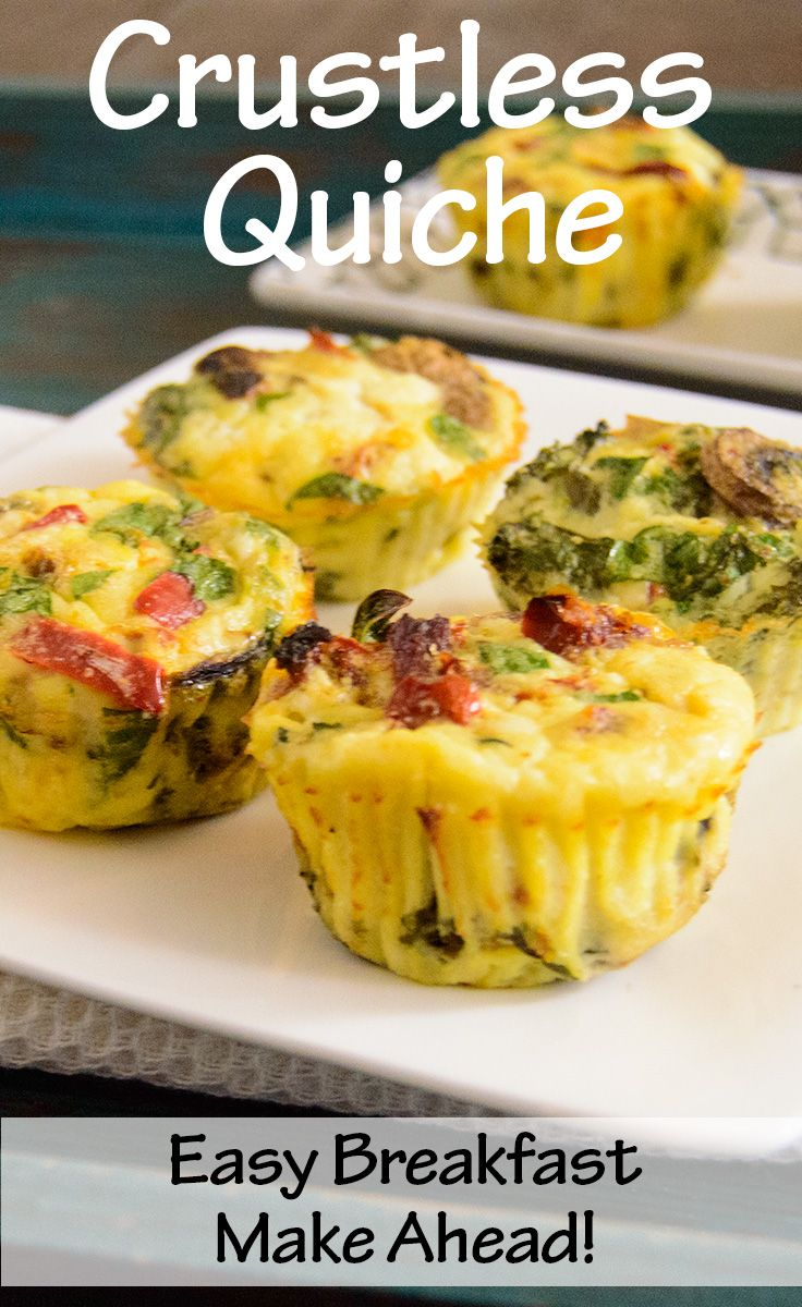 Healthy, Easy Crustless Quiche - low fat, high protein, easy make ahead breakfast for busy days!