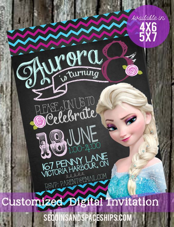 Frozen Invitation, Chalkboard, Summer Frozen, Frozen Birthday Invitation, Birthday Invitation, Summer Party,  Frozen Party, Printable,