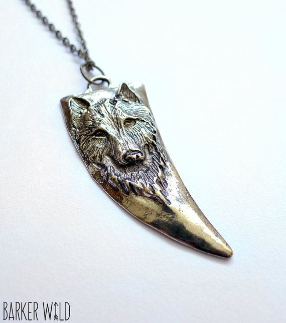Gold brass wolf pendant animal claw wolf fang tooth by BarkerWild