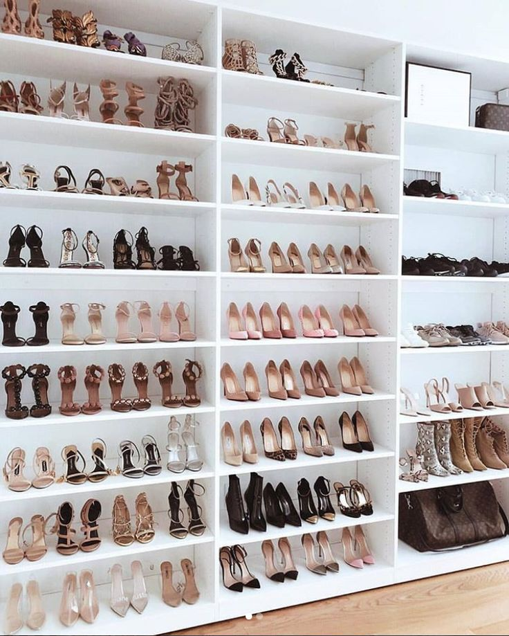 This dynamic floor to ceiling shoe sanctuary was created