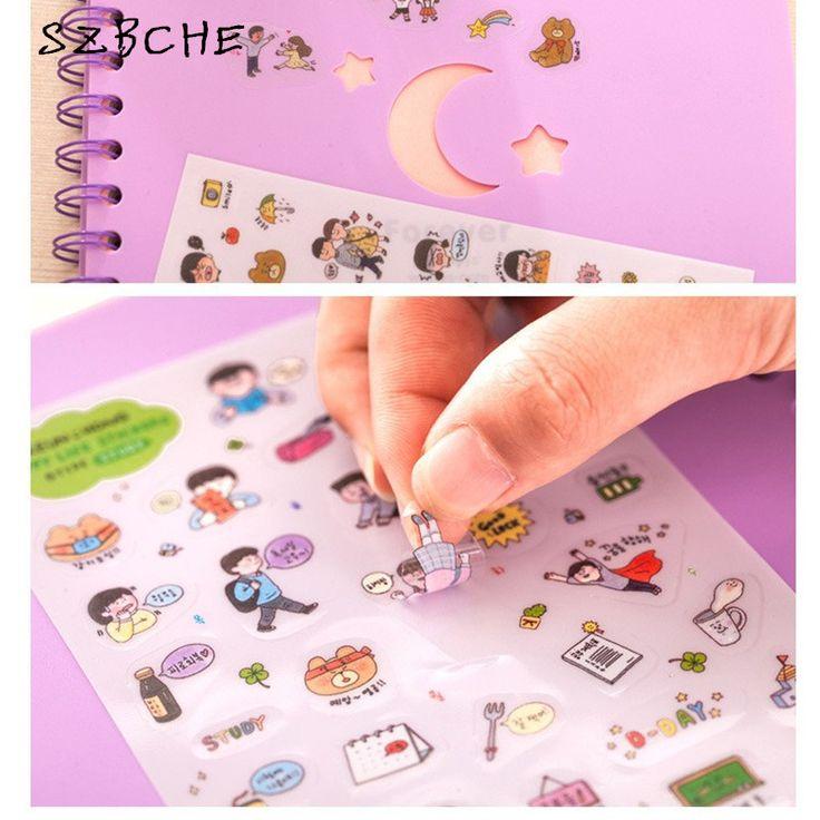 Korea stationery bear happy life diary decorative stickers transparent PET stickers child DIY toy 6sheets/set