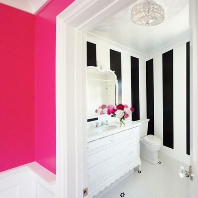 Hot Pink, white, black bathroom w/accents of my mock McKenzie Childs projects