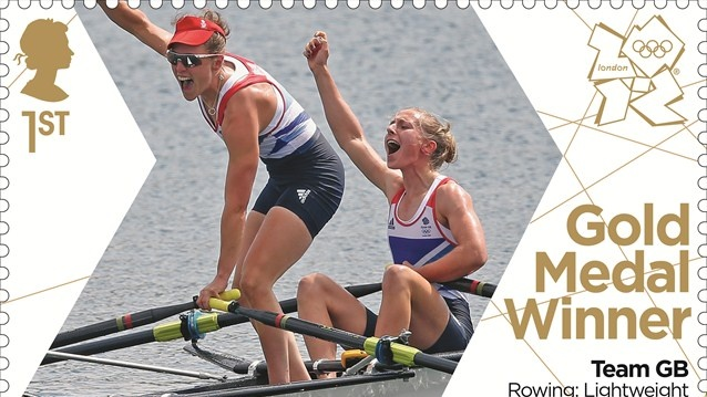 Royal Mail has issued a gold medal stamp to celebrate the victory of Team GB's Katherine Copeland and Sophie Hosking in the women's Rowing Lightweight Double Sculls final on Day 8 of the Games.