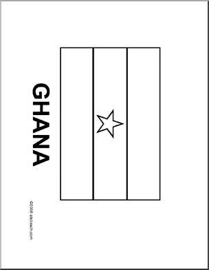 Flag: Ghana - Line drawing of Ghana's flag to color.