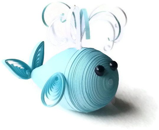 New Baby Ornament  Paper Quilled Whale in by WintergreenDesign, $18.00