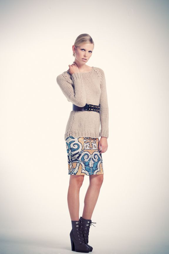 Gaudian mosaic patterned pencil skirt with hand knitted sweater visit www.asliguler.com to shop online
