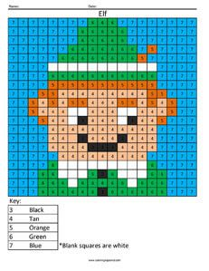 Click on the image to view the PDF.  Print the PDF to use the worksheet. Elf- Holiday Color by Number Use basic counting skills and the key at the bottom of the coloring page to create a fun Christ…