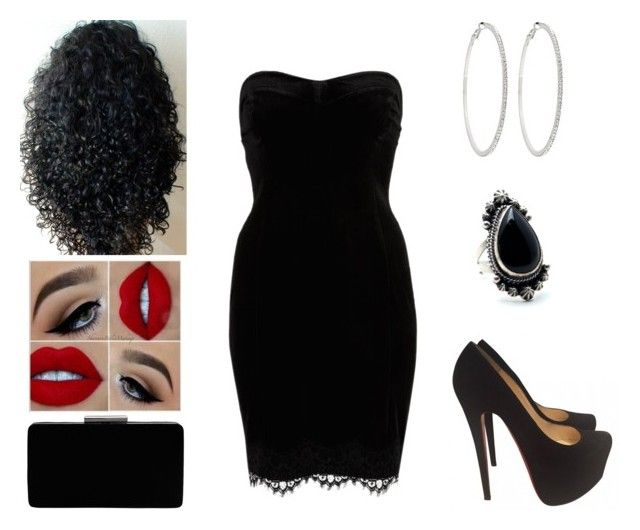 """Sexy Black Dress ♥"" by muppets-cookie-monster ❤ liked on Polyvore featuring River Island, Christian Louboutin, John Lewis and Roberta Chiarella"
