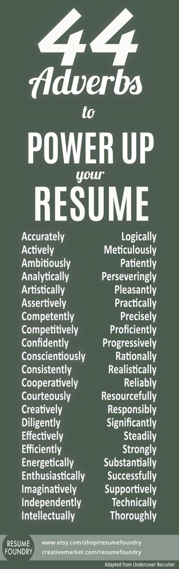 Resume tips, resume skill words, resume verbs, resume