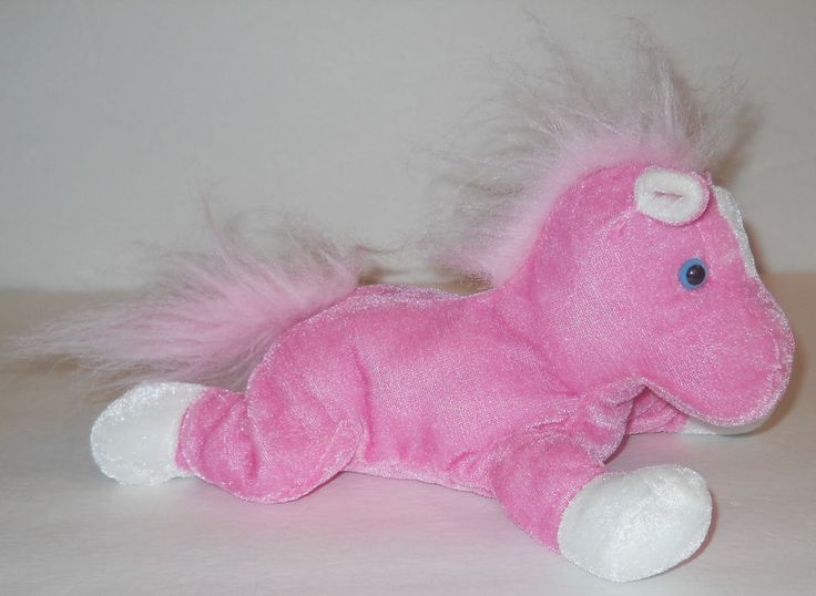 "Pink White Stuffed Plush Horse Pony 9"" Best Made Toy Animal Doll Shimmer Shine #BestMadeToys"