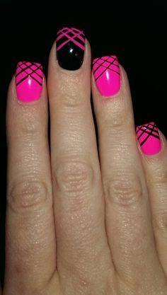 Black And Pink Nail, Hot Pink And Black Nail, Hot Pink Nail, Nail Designs, Pink And Black Nail Design, Art Design, Hair Nails