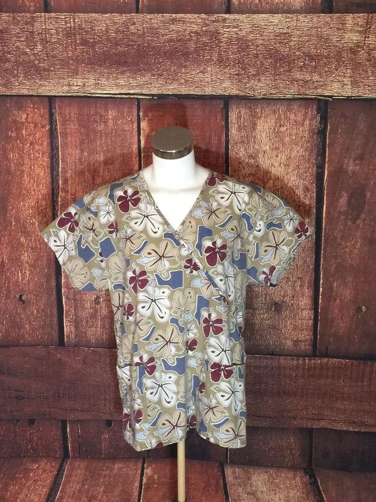 Absolute Scrubs Medical Nursing Uniform Scrub Top Large Floral (I6)  | eBay