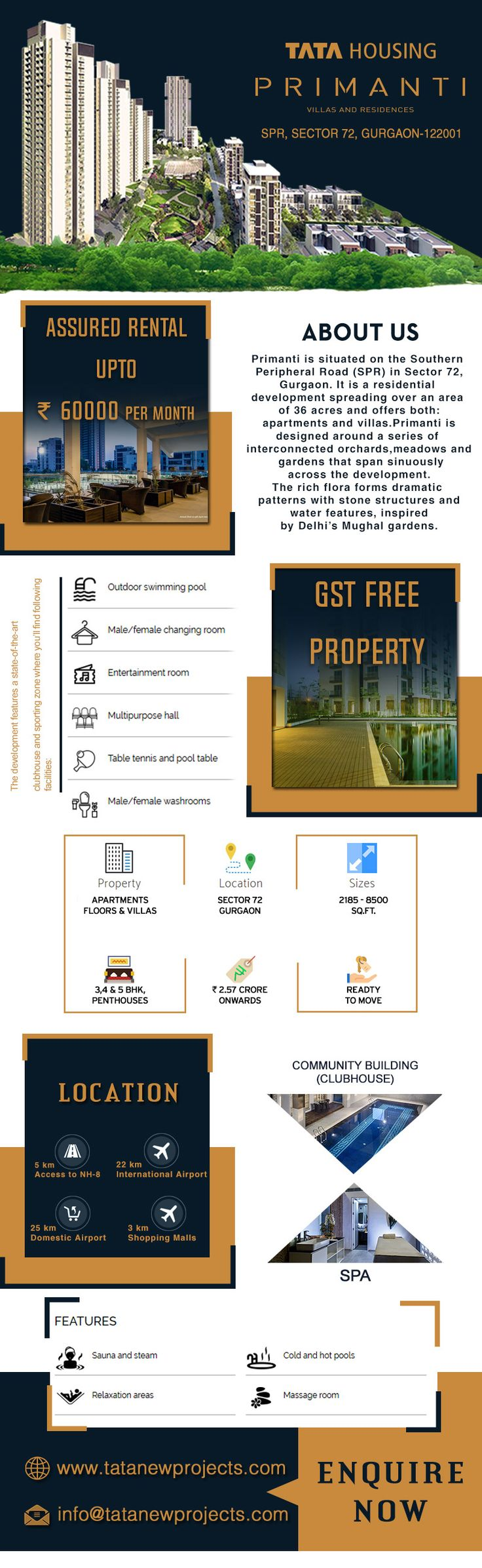 Tata Housing has come up with a prolific housing concept naming it as Tata Primanti. It is located in Sector 72 Gurgaon where 3/4BHK Apartments, Floors, Villas and Penthouse.