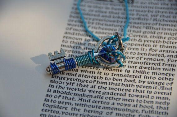Blue Swarovski Crystal Key by GeekAtHeartShop on Etsy, $15.00