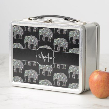 Sparkly colorful silver mosaic Elephant Monogram Metal Lunch Box - glitter gifts personalize gift ideas unique