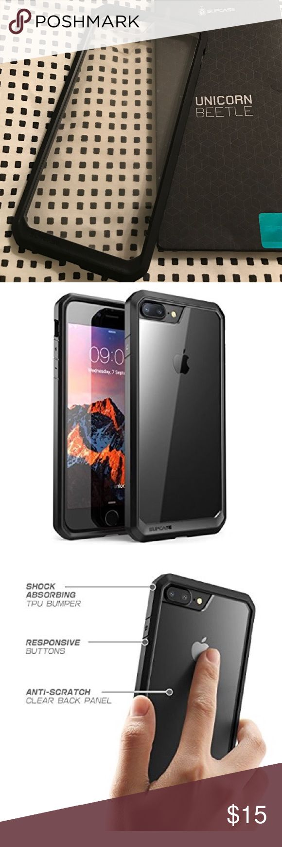 iPhone 7 Plus case clear & black supcase New never used iPhone 7 Plus case clear & black unicorn beetle supcase. I ordered the iPhone 7 case but received this one for the plus instead. Bought for 16.99 online but I have no need for it since I have the regular 7. I ended up buying the case for the 7 again and luckily got the right one this time and I love it. Very sturdy and protects phone well  Accessories Phone Cases